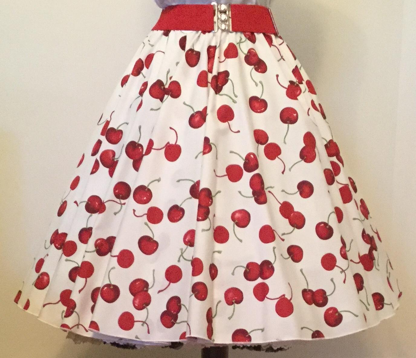 Cream/ Red Cherries Print  Circle Skirt