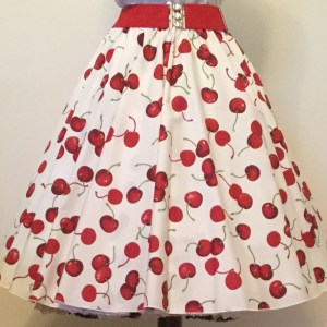 Cream/ Red Cherries Print  Circle Skirt