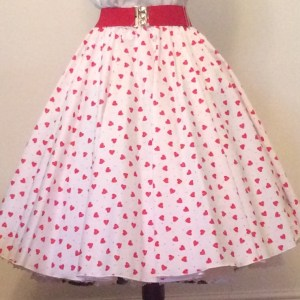 White  / Red Hearts Print Circle Skirt