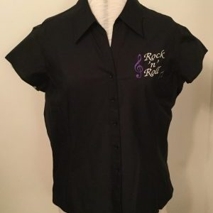 Ready Embroidered Cap Sleeved Black Blouse (Size 20)