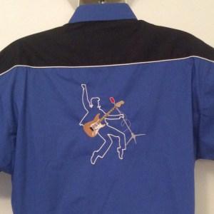 Ready Embroidered 186 Blue / Black Shirt (Size XLarge)
