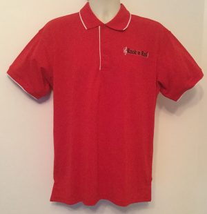 Ready Embroidered Mens Red/White Polo Shirt (Size Large)