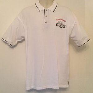Ready Embroidered Mens White/ Navy Polo Shirt (Size Large)