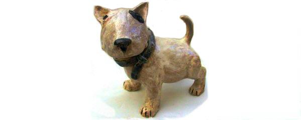 Ceramic English Bull Terrier Puppy Sculpture from Lazy Dog