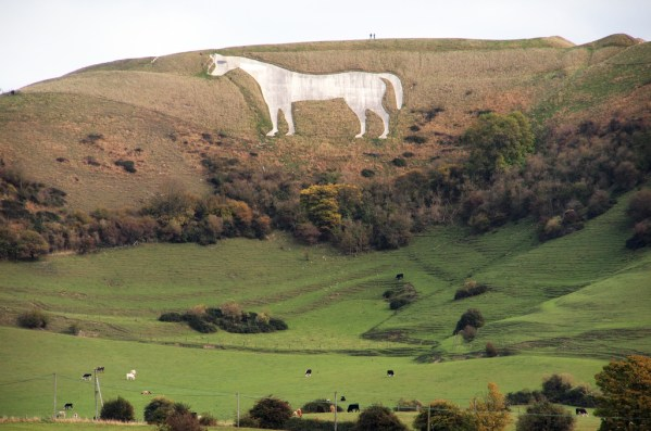 Wiltshire with your dog  white horse
