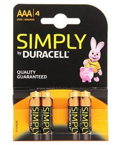 Pilhas Alcalinas DURACELL Simply DURSIMLR3P4B LR03 AAA 1.5V (4 pcs)