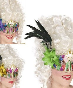 Máscara com Plumas Multicolor