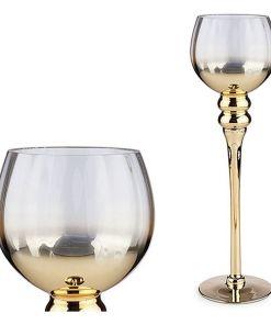 Castiçais Transparente Cristal Ouro (13 x 40 x 13 cm)