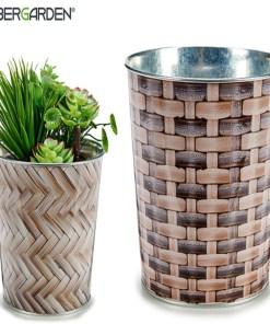Plantador Metal vime (17,6 x 16,5 x 17,6 cm) Grande Redondo