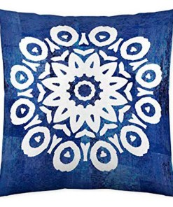Capa de travesseiro Costura Greek Indigo (50 x 50 cm)