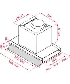 Extrator Convencional Teka 113100000 90 cm 255 m3/h 250W A Aço inoxidável