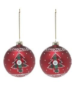 Bolas de Natal Christmas Planet 1785 8 cm (2 uds) Cristal Vermelho