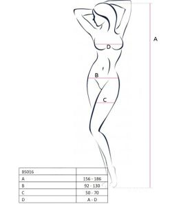 PASSION WOMAN BS016 BODYSTOCKING WHITE ONE SIZE