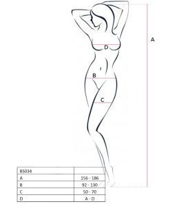 PASSION WOMAN BS034 BODYSTOCKING WHITE ONE SIZE