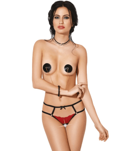 LE FRIVOLE - 04328 CROTCHLESS THONG BLACK AND RED S / M