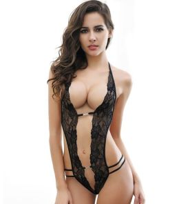 QUEEN LINGERIE CROTHLESS LACE TEDDY WITH RHINESTONE PLUS SIZE