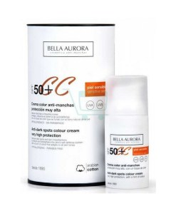 Creme Antimanchas Solares Cc Protect Bella Aurora SPF 50 (30 ml)