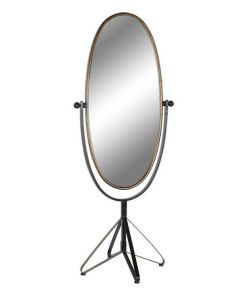 Espelho de pé Dekodonia Preto Dourado Metal Vintage (66 x 57 x 163 cm)