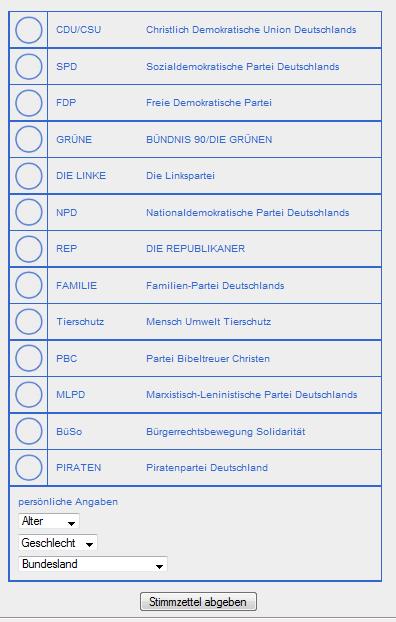 virtueller Stimmzettel zur Bundestagswahl 2009 auf onlinewahlen.com