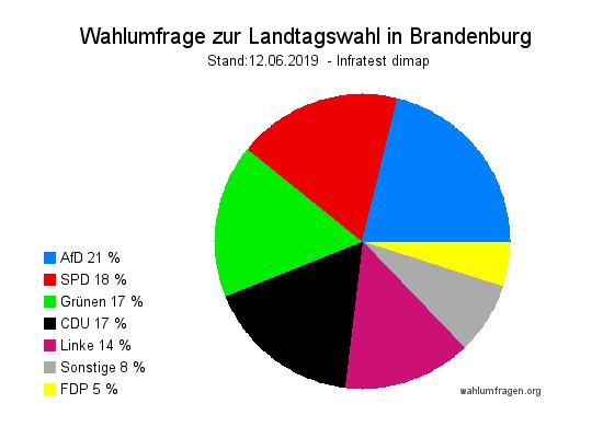 Aktuelle Infratest dimap Wahlumfrage zur Landtagswahl in Brandenburg vom Juni 2019