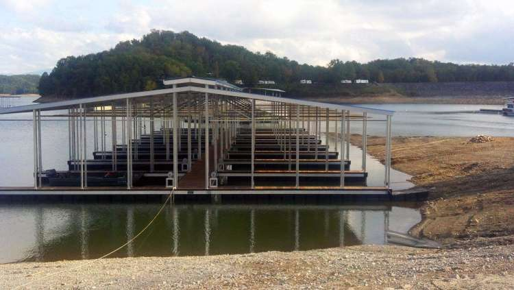 wahoo aluminum docks commercial marine construction at percy quinn state park 03 - double gable roof with ipe decking