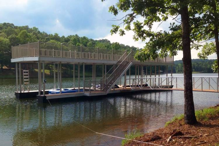 wahoo aluminum docks community dock with upper deck and deck staircase plus aluminum gangway