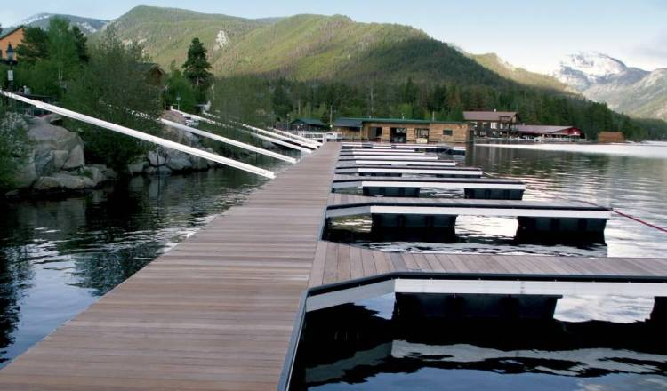 wahoo aluminum floating docks - arm anchor with ipe dock decking
