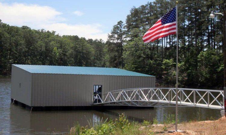 floating jail on lake lanier from wahoo aluminum docks