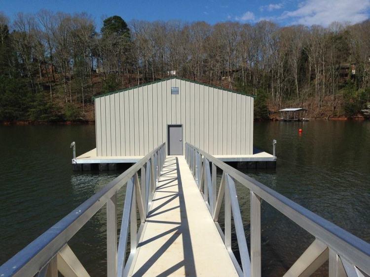 mountain cove floating boathouse aluminum dock construction with aluminum gangway