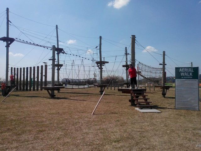 Aerial walk, 30 minutes of varied obstacles from start to finish.
