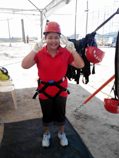 I got all prepped up for the rappel. Woohoo! I actually did it!