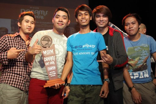 (L-R) Daryl Jay Santos (bass guitar), Mark Cordovales (vocals), John Peterson Layva (rhythm guitar), Eljon Nono (lead guitar) and Aldrin Condat (drums) Fifth Dynamics surprised as they received their award when project head, Chris Cahilig announced that they are one of the three champions chosen for McJIM Dreams Get Real.