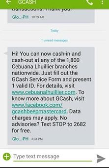 Where can you cash in for your GCASH?