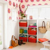Colorful Mudroom Built In Cabinets by Wainscot Solutions