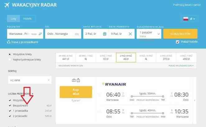 Bezpośrednie loty z Warszawy do Oslo linii lotniczej Ryanair