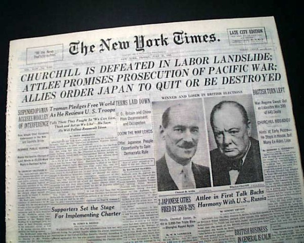 On 26th July 1945 Winston Churchill lost contact with the people he lead to victory in the war against Hitler and thereby lost the general election to Clement Attlee who lead the Labour Party to a landslide victory.