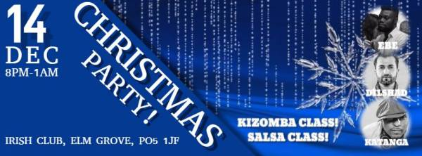 ITS HERE!! CHRISTMAS!! TIME TO CELEBRATE!!! IRISH CLUB THE ONLY PLACE TO BE!!!! Join SALSA KATANGA and for his fantastic Christmas Party at The Irish Club tonight! It will be an evening full of Salsa, Kizomba and Bachata, laughter and dancing till 1AM!! SPECIAL GUEST KIZOMBA TEACHER!!! EBE!!!! He will be teaching Intermediate KIZOMBA, after the usual SALSA classes!!