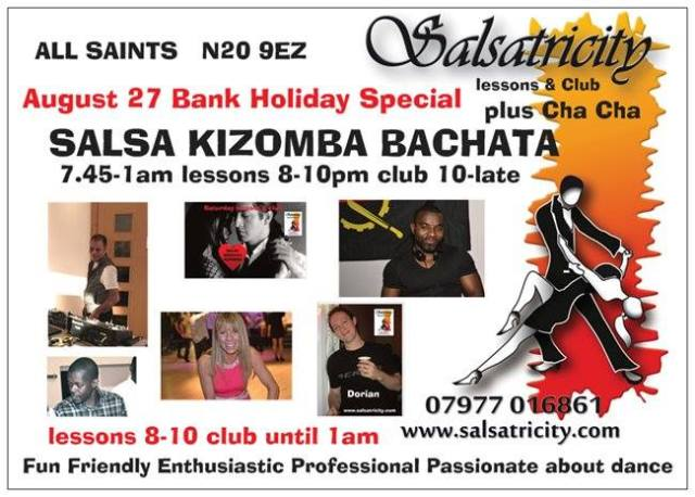 August Bank Holiday Special at All Saints Church Hall, East Barnet N20 9EZ - click on the poster to see Google Map!