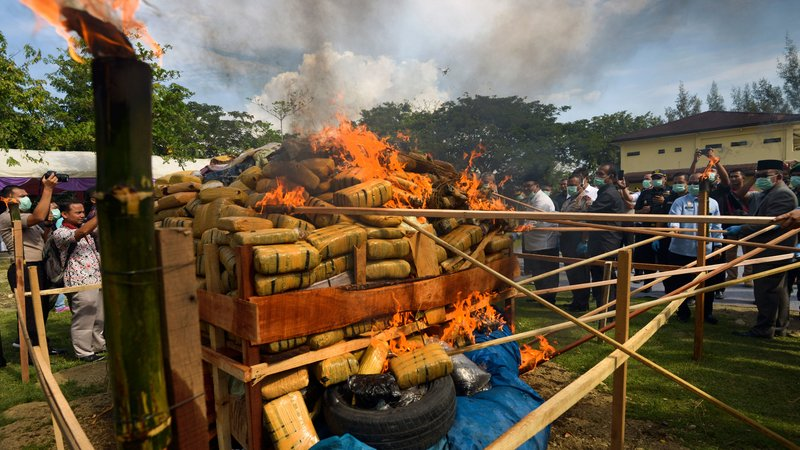 Indonesian Authorities Burn 800kg Weed In Aceh Province