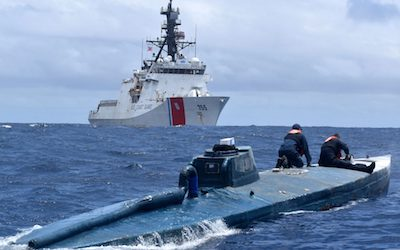 US Coastguard Release Pictures Of Captured  Cocaine & Cannabis Smuggling Submarine