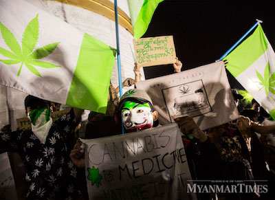 "Myanmar, ""The 1111 Movement"" Small Group Publicly Protest For Legalization  of Cannabis"