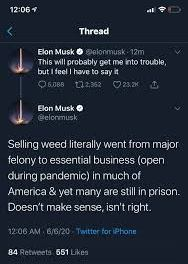 Elon Back On Weed Bus With Latest Tweet….