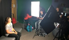 Students film interviews about future careers