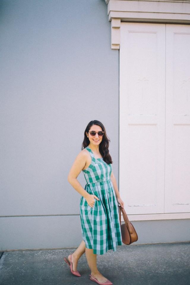Gingham Dress - Waketon Road Blog - J.Crew dress, Cuyana bag, pink accessories