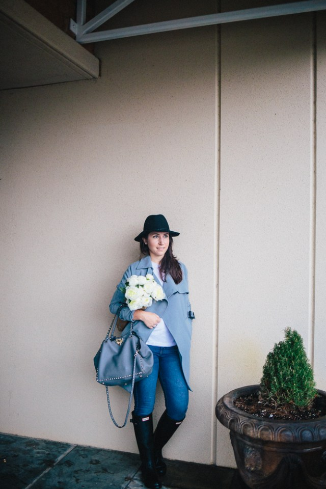 Gray Days - Waketon Road Blog: Chicwish Trench coat, Hunter Boots, Valentino Bag