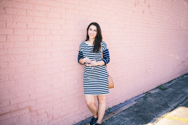 Casual Weekend Wear with J.Crew Nautical Stripe Dress - Waketon Road Blog