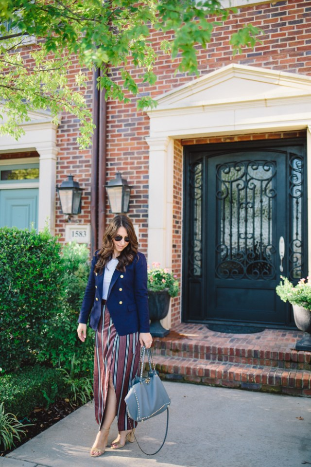 Bryn Bradsher from Waketon Road - Wearing American Classic Sportswear from Banana Republic: Navy Nautical Blazer and Stripe Wrap Skirt