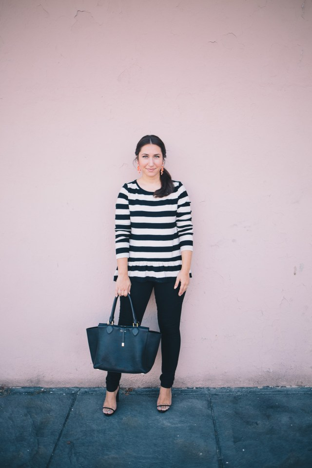Black and White Stripe on Waketon Road Blog, wearing Loft peplum top with J.Crew statement earrings