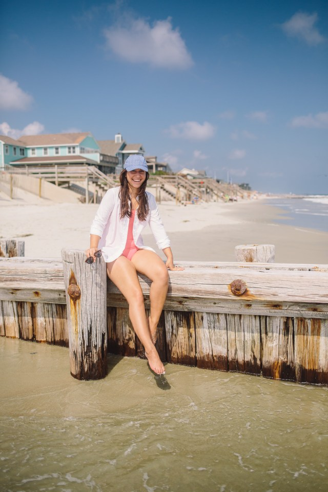 Beach Time at Pawley's Island - Waketon Road Blog wearing J.Crew pink one piece bathing suit