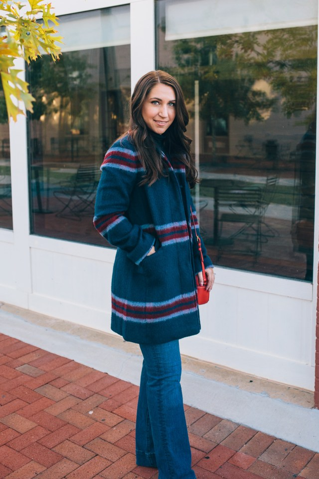 Statement Coats on Waketon Road Blog wearing plaid wool coat from Loft